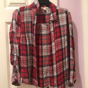 miami Tops - Plaid button down shirt size S